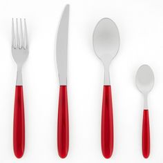 Red 24 Piece Italian Place Setting Vibrant, dependable and alluring; enhance your place setting with an Italian-made 24 piece cutlery set. Featuring beautiful red handles, the polished rust-resistant stainless steel ensures long lasting use. Designed with convenience in mind, this set is dishwasher safe.