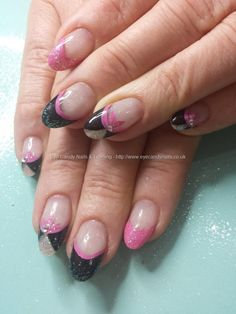 Pink silver and black freehand nail art