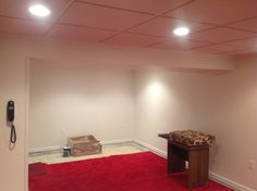 Finished ceiling and walls Basement Systems, Wall, Ceiling