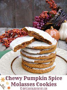 Most Popular: Chewy Pumpkin Spice Molasses Cookies. Ah yeah! Pumpkin Recipes, Fall Recipes, Sweet Recipes, Holiday Recipes, Cookie Recipes, Dessert Recipes, Dessert Ideas, Just Desserts, Delicious Desserts