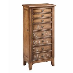 @Overstock - Newell Jewelry Chest - Freeform vine artwork and clean lines update this classic jewelry armoire. Stylish and functional, this eight-drawer and two-door armoire adds warmth to any space with its soft pecan finish.  http://www.overstock.com/Home-Garden/Newell-Jewelry-Chest/9409246/product.html?CID=214117 $474.38