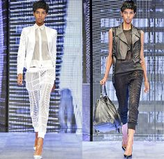 Philipp Plein 2014 Spring Summer Womens Runway Collection - Milan Fashion Week - Cropped Leather Sweatpants Lace Sheer Crochet Jeans Metalli...