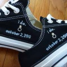 Personalized converse wedding shoes. Great idea...we did it! :)                                                                                                                                                     More