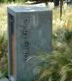 my mailbox is on my house, but oh if there were a use for this. my mailbox is on my house, but oh Contemporary House Numbers, Contemporary Mailboxes, Post Contemporary, Contemporary Houses, Contemporary Architecture, Mailbox Landscaping, Modern Landscaping, Modern Landscape Design, Landscape Plans