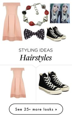 """Pink Dress"" by headphones-girl on Polyvore featuring Dorothy Perkins and Converse"