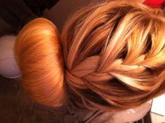 Braid and sock bun hair