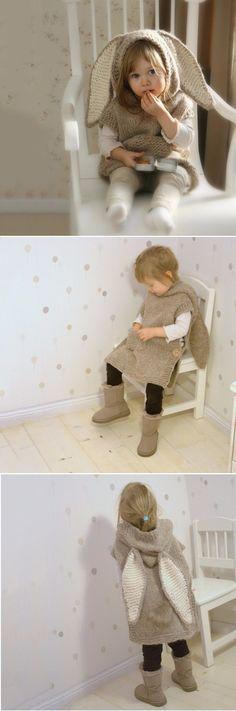 US$17.10 Children Girl Big Rabbit Ears Sleeveless Hooded Knitted Sweater