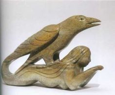 The traditional account of the Inuit people is that the trickster in the form of Raven created the world. Inuit Kunst, Arte Inuit, Inuit Art, Native Art, Native American Art, Inuit People, Sculpture Head, Garden Sculpture, Goddess Of The Sea