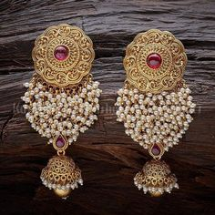 Designer earrings studded with synthetic ruby stones and beads, plated with gold polish and made of copper alloy! Indian Jewelry Earrings, Fancy Jewellery, Jewelry Design Earrings, Gold Earrings Designs, Indian Wedding Jewelry, Gold Jewellery Design, Antique Earrings, Stylish Jewelry, Designer Earrings