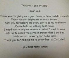 Comforting test taking prayer