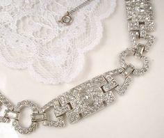 Original Art Deco Clear Pave Rhinestone Wide Link Flapper Bridal Bracelet, Vintage Great Gatsby 1920s 1930s Antique Downton Abbey Wedding by AmoreTreasure