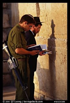 Young soldier and orthodox jew reading prayer books at the Western Wall. Jerusalem, Israel,Part of gallery of color pictures of Middle-East by professional photographer QT Luong, available as prints or for licensing. Cultura Judaica, Terra Santa, Western Wall, Jewish History, Jerusalem Israel, Holy Land, Judaism, Prayers, Reading