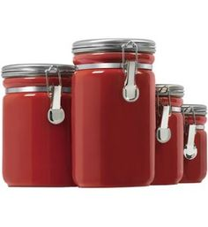 Red Ceramic Kitchen Canisters