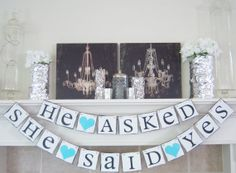 bridal shower banner, bridal shower, engagement party, wedding banner, wedding banners,Bridal shower banner He Asked SHE SAID YES bridal shower decor by lolaandcompany, $33.00