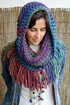 New Crochet Cowl Poncho Pattern Prayer Shawl Ideas Hippie Crochet, Freeform Crochet, Crochet Shawl, Free Crochet, Knit Crochet, Loom Knitting, Knitting Patterns, Crochet Patterns, Crochet Scarves
