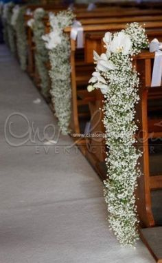super Ideas for wedding church aisle flowers babies breath Aisle Flowers, Wedding Ceremony Flowers, Church Flowers, Wedding Ceremony Decorations, Wedding Centerpieces, Wedding Bouquets, Church Decorations, Wedding Ideas, Gypsophila Wedding