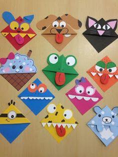 Corner bookmarks Corner bookmarks – Related posts: Ab in die Ecke – DIY woodland animals origami bookmarks {print + fold Kids Crafts, Valentine Crafts For Kids, Crafts For Kids To Make, Preschool Crafts, Art For Kids, Arts And Crafts, Paper Crafts, Diy Paper, Homemade Valentines