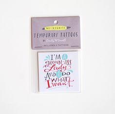 "This hand lettered temporary tattoo measures 2"" x 2.5"".  $2.50 ea"