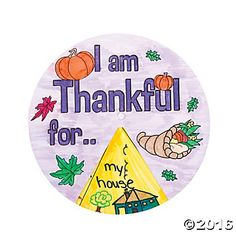 "Colour Your Own ""Thankful"" Wheel - 12 pk Party Supplies Canada - Open A Party"