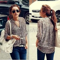 Fashion Women's Leopard print Shirt Long Sleeve Button Down Blouse Chiffon Tops $7.49