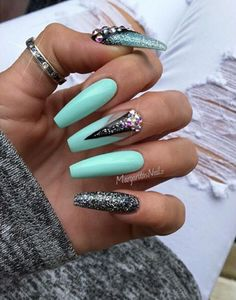 Turquoise and gray glitter long coffin nails