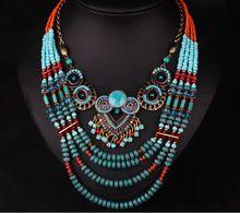 Moda bonito coruja turquesa multicamadas de plástico / resina colar presentes de natal(China (Mainland))