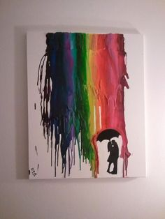 Cool DIY crayon art, I would probably do all blues or blues and greens; rainbow is a little too much for me