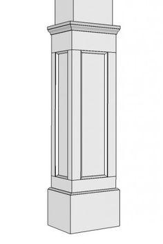 Non-Tapered Recessed Panel I Elite Trimworks Interior Columns, Flat Interior, Interior Stairs, Craftsman Style Porch, Craftsman Trim, Farmhouse Style, Wood Columns, Porch Columns, Pvc Column Wraps