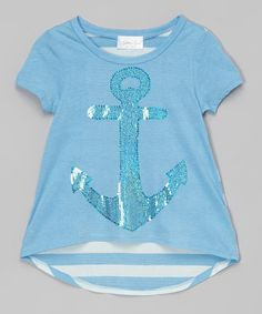 This Azure Stripe Anchor Hi-Low Tee - Girls is perfect! Blue glitter
