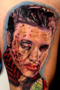 Zombie Elvis by Ron Russo. Zombie Tattoos, Wicked Tattoos, Great Tattoos, Horror Tattoos, Elvis Tattoo, Nikko Hurtado, Zombie Walk, Zombie Girl, Tatoo Art