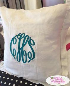 Monogrammed Euro Hemstiched Linen Pillow  Home & Garden > Linens & Bedding > Bedding