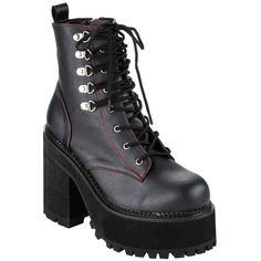 Pleaser Demonia By Pleaser Assault Combat Boot ($99) ❤ liked on Polyvore featuring shoes, boots, platform combat boots, lace up combat boots, red lace up boots, lace up boots and black military boots
