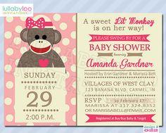 sock monkey baby shower invitations 022 baby girl by lullabyloo