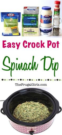 Easy Crock Pot Spinach Dip Recipe! Creamy, rich and savory, this Crock Pot Spinach Dip is going to give that old school spinach dip a kick in the pants. And I blame the bacon! It's perfect for your holiday parties and a must-have on Game Day! Go grab your Slow Cooker! | TheFrugalGirls.com