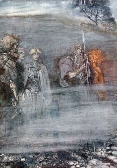"""The gods grow wan and aged at the loss of Freia lithograph by Arthur Rackham [published in """"The Rhinegold & The Valkyrie"""", facing page from Scene 2 of """"Das Rheingold"""" by Richard Wagner Richard Wagner, Old Norse, Arthur Rackham, Norse Mythology, German Mythology, Conte, Logs, Fantasy Art, Illustration Art"""