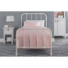 DHP Jenny Lind Metal Twin Bed in White