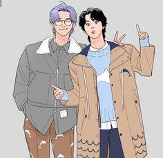 Foto Bts, Bts Photo, Namjin, Vkook Fanart, Kpop Drawings, Fanarts Anime, Bts Chibi, Bts Fans, Ship Art