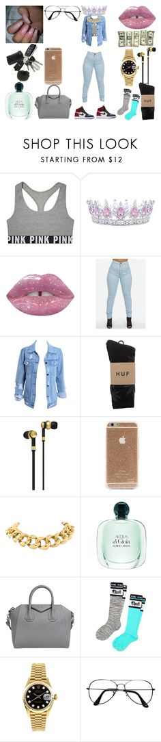 """Litty#1"" by kisha1891010 on Polyvore featuring Victoria's Secret, Lime Crime, NIKE, HUF, Master & Dynamic, Seaman Schepps, Givenchy, Victoria's Secret PINK, Rolex and ZeroUV"