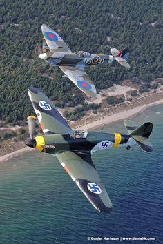 Spitfire and a German captured Hurricane