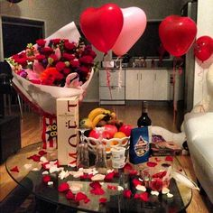 "romantic #valentines day 101: roses, champagne, heart everything, ""i love you"""