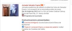 Participación en la Jornada Salvador Espriu, 26 de abril de 2013.