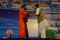 Baba Ramdev and Member of Parliament Sri Shripad Yasso Naik meeting and greeting each other:   Here are two of the great people of our country Baba Ramdev and Sri Shripad Yasso Naik ji meeting and greeting each other after the morning Yoga session.