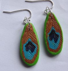 Items similar to Dangle Peacock Earrings handmade from Polymer Clay Natural Jewelery on Etsy Peacock Earrings, Diy Earrings, Earrings Handmade, Dangles, Trending Outfits, Unique Jewelry, Handmade Gifts, Etsy, Vintage