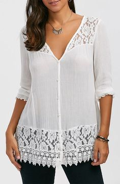 Lace Trim Button Up Tunic Blouse, Lace Trim Button Up Tunic Blouse Occasion: Casual : Style: Casual : Material: Rayon : Shirt Length: Long : Sleeve Length: Three Quarter : Collar: V-Ne. Clothing Sites, Size Clothing, Red Blouses, Blouses For Women, Chiffon Blouses, Cheap Blouses, Tunic Blouse, Tunic Tops, Lace Tops