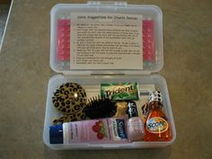 First Date Kit: - Strength of Youth  - YW Value Card  - Brush/Mirror  - Lip Gloss  - Nail Polish  - Mouthwash  - Gum  - Lotion  @ http://www.sugardoodle.net