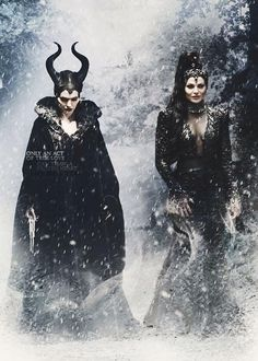 """Meleficent (Angelina Jolie) and Evil Queen (Lana Parrilla) """"Only an act of true love can thaw a frozen heart"""" *************** So, I had to see Maleficent twice to decide that I felt Disney fucked up their opportunity, but this is a nicely done edit Maleficent Quotes, Maleficent 2014, Disney Pixar, Disney Villains, Angelina Jolie, Once Upon A Time, Les Descendants, Malificent, Evil Queens"""