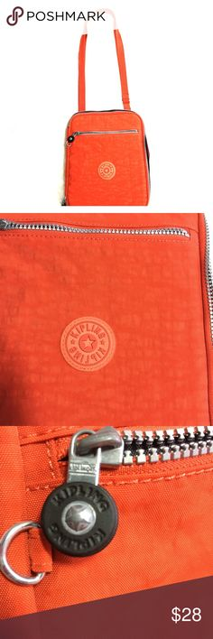 "Kipling iPad/kindle/tablet shoulder/cross body Kipling bag  iPad/kindle/tablet shoulder/cross body  Adjustable/removable strap  Color orange  ZippAround opening and zipper outside pocket  Soft fleece fabric lined with elastic on corners to place your tablet  Great for travel road trips commutes  9"" by 11""    #5 Kipling Bags Crossbody Bags"