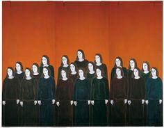 Djamel Tatah Les femmes d'Alger huile et cire sur toile et bois triptyque  350X450cm
