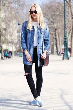 A longer denim jacket goes great with some distressed black jeans and eye-catching oxfords. From how to wear an oversized jean jacket.