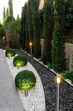 Summer style Outdoor garden with black and white stones poured into a garden bed to create modern art! Love the tall Italian cypress trees and the smaller round boxwood plus the tall modern outdoor lighting! AND helps drainage too! Smart and beautiful design!